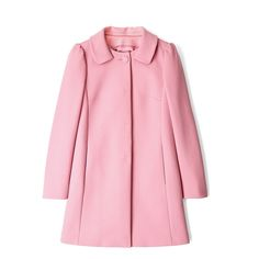 Red Valentino Pink A-line Coat ($736) ❤ liked on Polyvore featuring outerwear, coats, jackets, coats & jackets, pink coat, long sleeve coat, red valentino coat, red valentino and a line coat