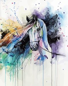 [Painting] Elena Shved: colorful horses - MONIQUE BELLEIL - - [Painting] Elena Shved : des chevaux hauts en couleur The horse that makes rainbow jokes of my dreams Horse Drawings, Animal Drawings, Watercolor Horse, Watercolor Paintings, Painting Abstract, Abstract Landscape, Watercolors, Arte Equina, Horse Artwork