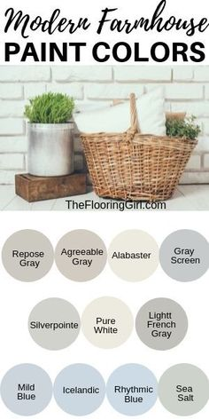 Farmhouse style paint colors and decor Modern Farmhouse Paint Colors Farmhouse Bedroom Decor, Farmhouse Style Kitchen, Modern Farmhouse, Farmhouse Bathrooms, Pink Roman Blinds, Farmhouse Paint Colors, Modern Paint Colors, Paint Colours, Agreeable Gray