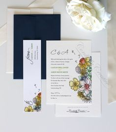 Wildflower Wedding Invitation watercolor illustrated with navy Envelope, vintage inspired on ivory felt paper for spring, summer, or fall on Etsy, $1.75