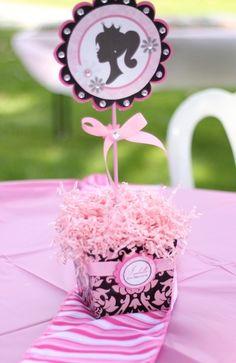 Centros de mesa para fiesta barbie. #FiestaBarbie