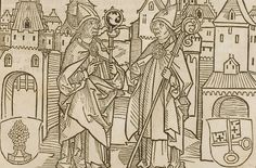 Illustration from the incunabulum: Cronecken der Sassen (The Chronicles of Saxony) printed by Peter Schöffer in Mainz.  Date	1492 detail