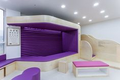 Moon Pediatric Clinic by maum studio, Geumgok ri Korea office healthcare - Colores y Texturas Clinic Interior Design, Clinic Design, Children's Clinic, Doctor For Kids, Cabinet Medical, Doctor Office, Waiting Rooms, Kid Spaces, Retail Design