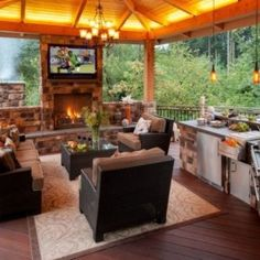 Outdoor Kitchen Design Ideas and Decorating Pictures for Your Inspirations - Amazing collection of outdoor kitchen layouts to get you motivated. Use our layout ideas to aid produce the exceptional area for your outdoor kitchen appliances. Outdoor Living Areas, Outdoor Rooms, Outdoor Furniture Sets, Outdoor Decor, Outdoor Kitchens, Outdoor Lighting, Lighting Ideas, Outdoor Patios, Rustic Furniture