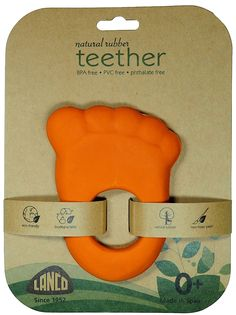 Ensure baby's teething comfort with this all natural teether toy. Made from 100% natural latex rubber, hand-painted with non-toxic paints, this water-resistant toy is completely PVC, BPA, and Phthalate free. Babies can chew and mouth teether with total safety.Teether's bright, cheerful colors appeal to infants visually and its texture soothes tender gums. An easy-to-hold, textured handle makes it easy for tiny hands to grasp the teether comfortably.