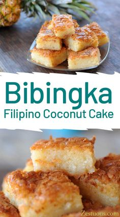 Bibingka – Filipino Coconut Cake Bigingka is a thin, unfrosted Filipino cake made with sweet rice flour and cream of coconut.<br> My favorite Filipino dessert by far is Bigingka. It's a thin, unfrosted cake made with sweet rice flour and cream of coconut. Philipinische Desserts, Filipino Desserts, Asian Desserts, Delicious Desserts, Yummy Food, Filipino Food, Coconut Desserts, Hawaiian Desserts, Pinoy Dessert