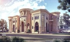 Villa Arabic-style Mixed on Behance Villa Design, Islamic Architecture, Architecture Details, Sustainable Architecture, Villas, Bungalow Haus Design, Classic House Design, Dream Mansion, Modern Mansion