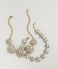 Weddings & Parties: J.Crew women's crystal rosette necklace and frosted crystal floral necklace.
