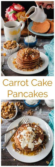 Easter Brunch Kids Cream Cheeses Ideas For 2019 Egg Free Pancakes, Carrot Cake Pancakes, Vegan Carrot Cakes, Vegan Pancakes, Vegan Brunch Recipes, Best Breakfast Recipes, Breakfast Ideas, Healthy Vegan Breakfast, Healthy Breakfasts