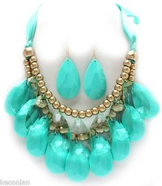 Chunky Teal Green Clear Tear Drop Bib Statement Necklace and Earrings Set | eBay