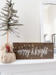 Christmas Wood Stained Sign Rustic Holiday Sign Decor by InMind4U