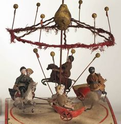 Manivelle Carousel Automaton Vintage Circus, Vintage Toys, Moving Dolls, Modern Dollhouse, Victorian Dollhouse, Michelangelo, Kinetic Art, Carousel Horses, Tin Toys
