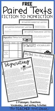 This FREE Paired Text set targets reading comprehension using one fiction and one nonfiction passage on the same skywriting themed topic. It also includes comprehension questions, a vocabulary page, a Reading Lessons, Reading Resources, Reading Skills, Teaching Reading, Reading Strategies, Kindergarten Reading, Preschool Kindergarten, Guided Reading, Math Lessons