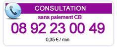Consultation sans CB par Claramedium et ses partenaires Consultation sans CB au 08 92 23 00 49.  N'hésitez pas à venir visiter mon site www.claramedium.com  consultation privé au 09 81 89 39 58  NOUVEAU : LA CONSULTATION à 40 EUROS TOUS LES MARDIS.