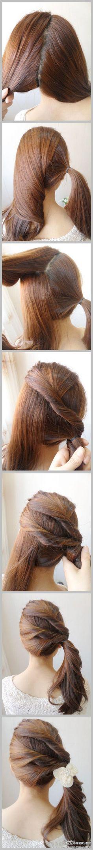 3 twists side ponytail