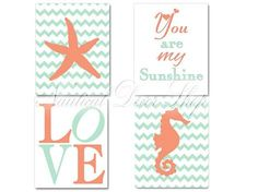 Nautical Nursery, Baby Girl Nautical, Seahorse Starfish, Love, You are My Sunshine,  Wall Art Print Mint Orange Coral, Set of four 8x10 on Etsy, $28.00