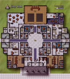 City Hall and public servants offices Cyberpunk, Tabletop Rpg, Tabletop Games, Fantasy City Map, D20 Modern, Pen & Paper, Building Map, Rpg Map, Dungeon Maps