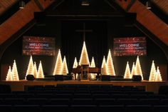 Trees All Aglow from First Baptist Church of Elgin in Elgin, IL | Church Stage Design Ideas