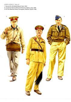 BRITISH ARMY - North Africa, 1940-42 - 1) General Sir Archibald Wawell, Il Cairo, 1941 - 2) Lieutenant-General Richard O'Connor, Bardia 1940 - 3) Air Vice Marschal Arthur Coningham, Western Desert, 1942