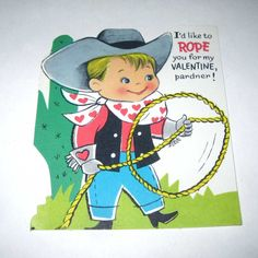 Vintage Unused Childrens Valentine Greeting Card With Cowboy Hat Boots And Lasso