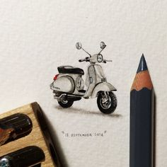Postcards for Ants. Day 256 : Vespa. Loraine Loots.  27 x 35 mm. 2014.