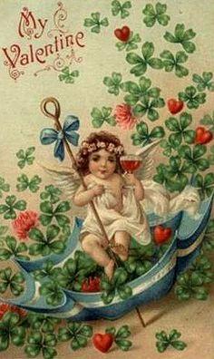 Valentines and Shamrocks vintage card