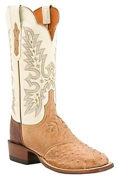 Lucchese Cowgirl Ladies Tan Full Quill Ostrich w/ Ivory Exotic Square Toe Boots