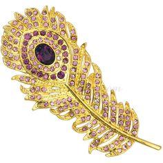 Amethyst Austrian Crystal Peacock Feather Brooch Pin