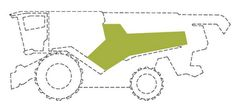 """The mark consists of of a stylized letter """"Y"""" positioned on both lateral outer contours of the harvester cladding downstream from the vehicle cab in the longitudinal direction of the harvester. The stylized """"Y"""" trademark is positioned on an outer contour of the vehicle so that its long leg extends away from the position of the vehicle cab in the longitudinal direction of the vehicle and the short leg delimits the long leg on the side facing the cab so that one short leg of the stylized """"Y""""…"""