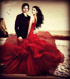 that dress!! LOVE this image of Elena and Damon from the Vampire Diaries series.