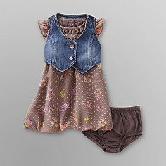 """Super cute!!! Screams """"Lil country girl!""""    Route 66- -Infant Girl's Dress, Vest & Diaper Cover - Floral"""