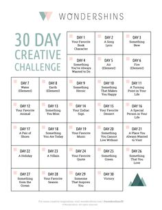 Start a 30 Day Creative Challenge to give your creative life a boost. Print out this free creative challenge with 30 topics that will keep you inspired. 30 Day Instagram Challenge, Music Challenge, 30 Day Song Challenge, Journal Challenge, Writing Challenge, Journal Prompts, Instagram Story Template, Instagram Story Ideas, Photography Challenge