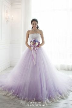 Utterly romantic lavender ombre gown from YNS Wedding with delicate lace details!