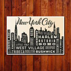 New York Skyline Poster. NYC Typography Poster Print. City Art Print. 12x18. $30.00, via Etsy.