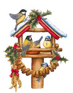 Christmas image of birds --Tubes noel / oiseaux