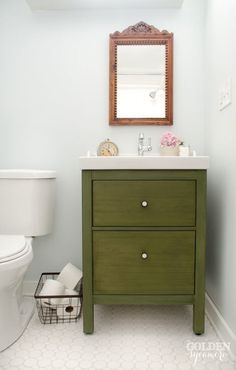 If there's one thing IKEA is famous for, it's their black-brown wood color. To hide that dead giveaway, this blogger added a green finish on top, resulting in a vintage vibe that makes this piece look totally unique. Click through for a tutorial and more of the best IKEA hacks ever.