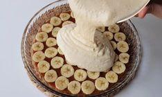 Vynikajúci koláč s banánmi, jednoduchým cestom a karamelovou chuťou. Príprava nie je vôbec náročná a výsledok zaručene poteší celú rodinu. Beautiful Cakes, Banana Bread, Delicious Desserts, Peanut Butter, Oatmeal, Pie, Pudding, Cooking, Breakfast