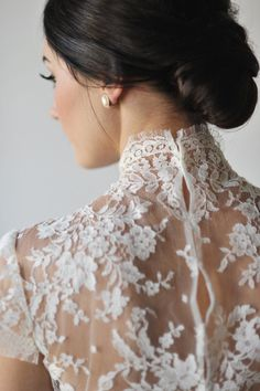 beautiful high neck lace detail on this dress by http://www.rivini.com/  Photography By / rebekahwestover.com, Styling, Design   Coordination By / attention2detailevents.com, Floral Design By / persimmonfloral.com