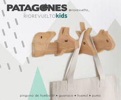 PATAGONES Unique wooden hanger for children room  Original perchero de pared para decoración infantil • Incluye a los 4 animales más sorprendentes de la Patagonia: pinguino de Humboldt, guanaco, huemul y puma. #riorevuelto #patagones #patagonia #guanaco #puma #mountainlion #humboldtpenguin #huemul #coathanger #hanger #nordicstyle #instadesign #furniture #wood #interiordesign #modernhome #kidsdecor #woodworking #lenga #kidsrooms #kidshager #animalshanger Sofas, Nordic Furniture, Puma, Patagonia, Inspiration, Coat Hanger, Animales, Couches, Biblical Inspiration