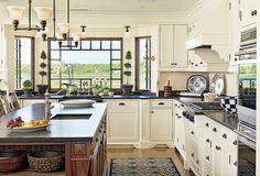 Cream Cabinets, wood island, stone counters, wood floors, Maine house...