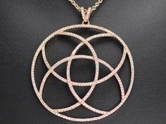 Sterling silver plated with rose gold vermeil cubic zirconia pendant and chain