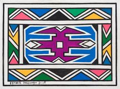 View Ndebele Patterns by Esther Mahlangu on artnet. Browse upcoming and past auction lots by Esther Mahlangu. Pattern Art, Pattern Design, Pattern Dress, Africa Symbol, African Logo, Africa Tribes, South Africa Safari, South African Artists, African Culture