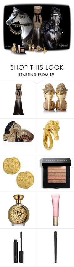 """""""Horses - Contest!"""" by sarahguo ❤ liked on Polyvore featuring Monique Lhuillier, Judith Leiber, Vintage, Bobbi Brown Cosmetics, Boadicea the Victorious, Clarins and RMK"""