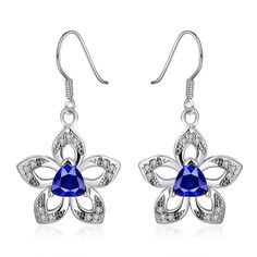 18K Gold Starfish with Saphire Centerpiece Drop Earrings Made with Swarovksi Elements, Women's