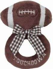 In honor of Super Bowl Sunday, I decided to post my free crochet pattern for a plush football (sorry if you were waiting for the sporty bootie pattern - I promise I will post that next). It shouldn't take long to make and would make a great indoor ball for little ones. I think it would also be fun to make in different colors. I plan to sell them soon! Since it is stuffed with fiberfill, you don't have to worry about this ball deflating ;)