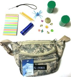 GeoCaching Kit, Cache Container, Camo Waist Pack, Logs, Swag, Flashlight & More!