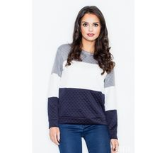 Navy Lace Top LAVELIQ Long sleeve quilted sweatshirt with U-neck and stripes in contrasting colours. Work Fashion, Fashion Outfits, Womens Fashion, Navy Lace Top, Lingerie, Fashion Addict, Street Wear, Vogue, One Piece