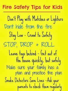 Kids Safety Does your family have a fire plan? Do you talk about fire safety with your kids? Being prepared can save lives. 10 Tips from a Firefighter Activities/Resources/Books for Safety Rules For Kids, Fire Safety Tips, Fire Safety Week, Child Safety, Fire Safety Poster, Fire Prevention Week, Injury Prevention, Preschool Lesson Plans, Preschool Activities
