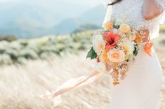 Boho Ranch bouquet with pops of orange, peach and blush for a modern boho chic feel