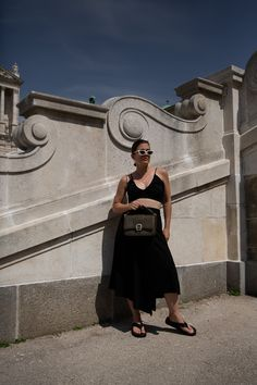 COFFEE RUN // Aigner Verona Bag + Arket Wrap Skirt + The Row Ginza Sandals — VIENNA WEDEKIND Vienna, Coffee Date, Asymmetrical Skirt, Le Specs, Running, The Row, Cool Outfits, Crop Tops, Sandals
